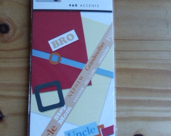 Accent pages for Family.  460 pieces for scrapbooking, card making, and crafts.