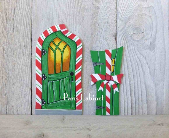 Christmas Elf Door with Candycane Trim