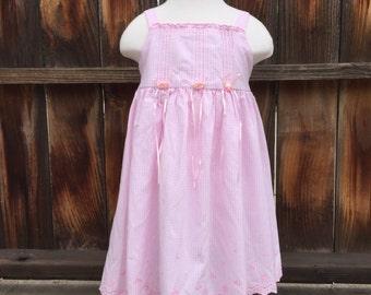 Goodlad Of Philadelphia Pink Dress Flowers Sz 4T Gingham