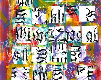 Gothic Calligraphic Collage- Signed limited edition- Giclée print
