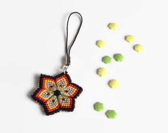 macrame flower cell phone charm keyring pendant with knotted flower charm in different colour combinations