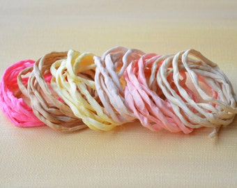 Hand dyed Silk Cords  - Set of 6 - Spring nude pink colors silk ribbons