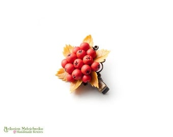 Hair clip Rowan Berries - Polymer Clay Flowers