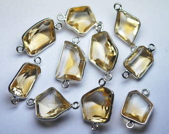 925 Sterling Silver,Natural CITRINE Faceted Fancy Shape Connector,5 Piece of 16-17mm approx