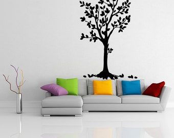 Vinyl Wall Decal Tree with Birds and Flowers / Nature Removable Art Decor Sticker / Home DIY Mural + Free Random Decal Gift