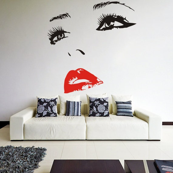 Vinyl Wall Decal Womens Face With Hot Lips Silhouette Sexy - How to make vinyl wall decals with silhouette