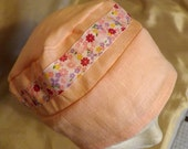 323 Pretty in Pink with Matching Ribbon 100% Linen Turban Snood Head Cover