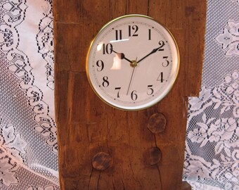 Reclaimed Wood Barn Beam Wall or Mantle Clock