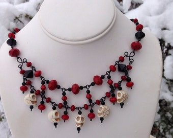 Garnet and Skull Necklace