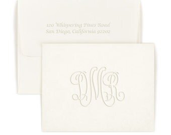 50 Beautiful Embossed Monogram Note Cards