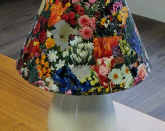 Hand Finished Floral Decoupage Shade on Table Lamp
