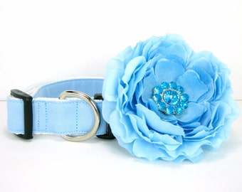 Wedding dog collar-Light Blue  Dog Collar with flower set  (Mini,X-Small,Small,Medium ,Large or X-Large Size)- Adjustable