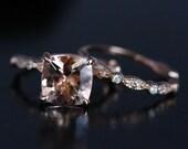 Rose Gold Morganite Ring Morganite Engagement Ring Pink Morganite Cushion 9mm and Diamond Wedding Ring Bridal Set