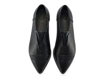 Stella Black shoes handmade leather amazing flat shoes