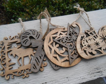 Set of 5 Ornaments, Laser Cut. Christmas, Holiday Decoration. Rustic. Gift Mom, Dad, Unique