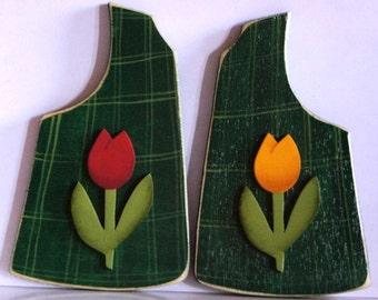 Seasonal Moose May Vest - Wood Spring Tulips Sign - Interchangeable