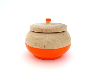 Neon orange jewelry box, wood jewelry box, tiny box, round wood box, neon wood home decor