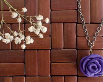 Purple Rose Pendant Necklace