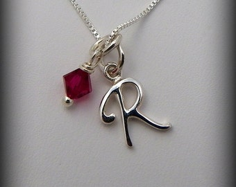 Sterling silver initial necklace, letter necklace, birthstone necklace, wedding party necklace