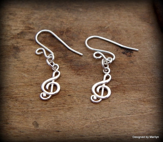 Sterling silver treble clef earrings, musician jewelry,  earrings, post earrings, hand made french ear wire