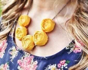 Golden Yellow Rosette Necklace