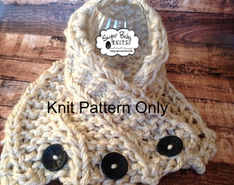 KNIT PATTERN -  Knit Ceilidh Cowl, Winter, Hand Knit Cowl Pattern, Shawl, Cream Scarf