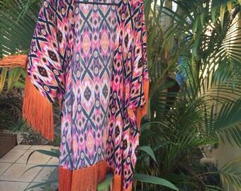 Aztec print silk chiffon kimino