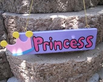Princess Wall Hanging Sign Plaque Pink & Purple
