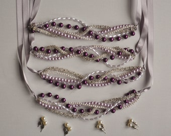 Rhinestone and Purple Pearl Bridesmaid Necklace Set with Pearl Earrings