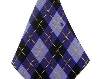 Women's Golf Gift Purple Argyle Golf Towel Ladies Golf Accessories