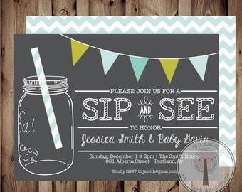 Sip and See Invitation, BABY SHOWER invitation, baby boy, baby shower, little man, baby shower invitation, sip n see, sip and see, 1076