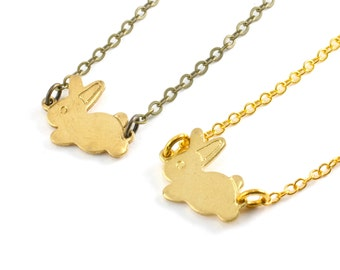 Gold Bunny Rabbit Necklace, Small Bunny Charm Necklace, Tiny Rabbit Charm Pendant, Choose Antiqued Brass or Gold Plate