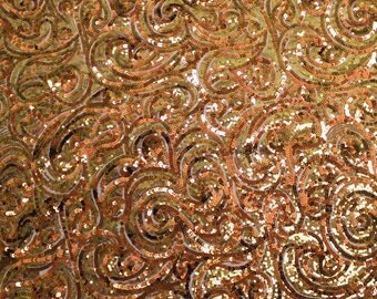 Allover Bronze Sequins Fabric Fleurons Embroidered Sequins - 1 Yard 2831
