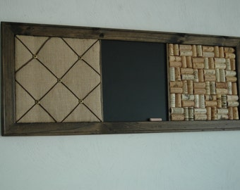 French Memo Board,  Wine Cork board & Chalkboard Kitchen Wall Organizer