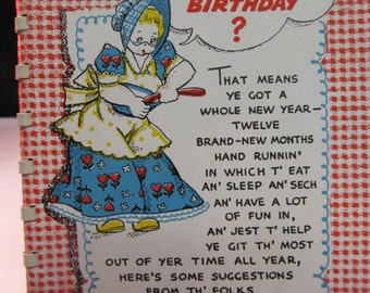SALE! was 8.00 Vintage Hallmark Birthday Book Used 15 pages, Whimsical, Funny, Humorous,417T