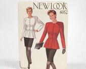 Vintage Women's 1980s NEW LOOK Printed UNCUT Ladies Peplum Top & Fitted Skirt Sewing Pattern - Sizes 8 thru 18 - No. 6052 Original Sleeve