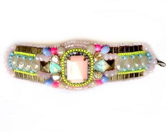 Beaded beauty in pastels with neon accents (free international shipping)