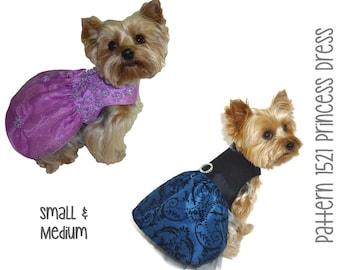 Princess Dog Dress Pattern 1521 * Small & Medium * Dog Clothes Pattern * Dog Harness Dress * Dog Wedding Dress * Designer Dog Clothes