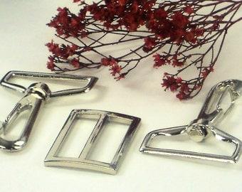 "1_1/4""  Silver Nickel 3pc Hardware Set - 2 Swivel  Hooks  & 1 Slide Purse Supplies at MeiMei Supplies in USA"