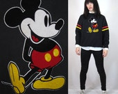 Vintage Mickey Mouse Sweatshirt Classic Black Velvet Applique Faded Long Sleeve Pullover Athletic Sporty Unisex Large