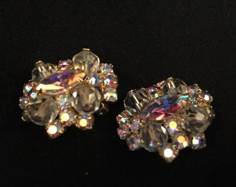 Vintage Pair of Prong Set of Aurora Borealis and Clear Crystal Clip On Earrings, ca 1950s