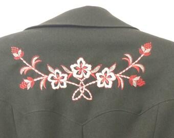 Vintage 1970 womens Western Jacket  w/ floral detail