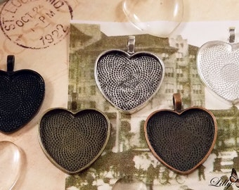 10- Heart Pendant Trays - 1inch (25mm) heart glass pendant setting, pendant blank, pendant trays -  5 Colors to Choose From