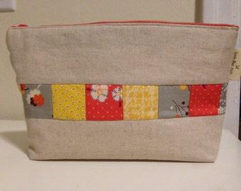 Bright Patchwork Linen Make-up Bag