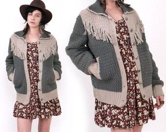 SALE 80's Gray FRINGE Knit Oversized Western Cardigan Sweater Vintage S/M