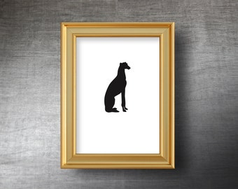 Greyhound Wall Art 5x7 - UNFRAMED Hand Cut Greyhound Silhouette Portrait - Personalized Name or Text Optional