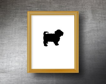 Havanese Silhouette Art 8x10 - UNFRAMED Hand Cut Havanese Print - Personalized Name or Text Optional