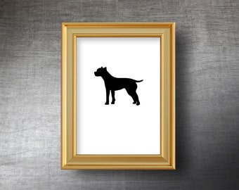 Pit Bull Terrier Wall Art 5x7 - UNFRAMED Hand Cut Pit Bull Terrier Silhouette Portrait - Personalized Name or Text Optional