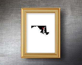 Maryland Map Art 5x7 - UNFRAMED Hand Cut Silhouette - Maryland Print - Maryland Wedding - Personalized Name or Text Optional