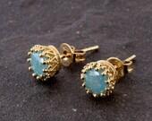 SALE Opal zirconia petite gold filled post earring, Round CZ Stud Earrings, Post Cubic Zirconia,Post Earring